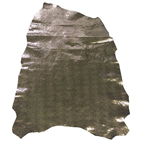 Metallic Snakeskin Leather - Genuine Embossed Lambskin - Quality Craft DIY Material - 3 sq ft - 2 oz. avg Thickness - Home Décor Fabric - Wholesale Supply - Silver Full Skins
