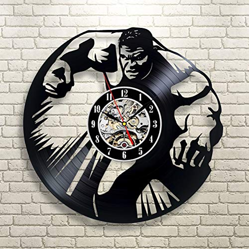 Wood Crafty Shop Hulk Marvel Superhero Vinyl Record Wall Clock Gift for Him and Her Unique Wall Decor The Best Gift Idea for Any Event Birthday Gift, Wedding Gift
