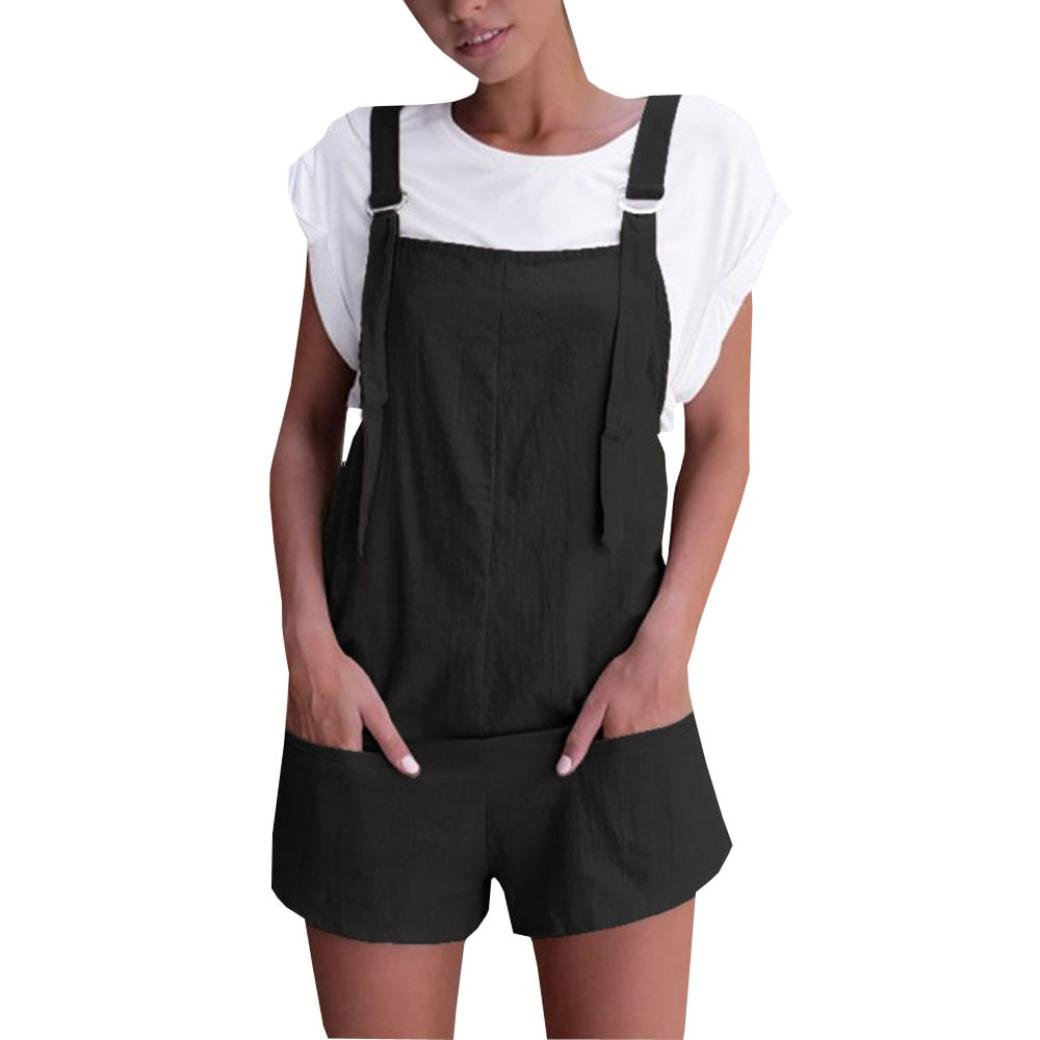 add33e486e9 Womens Fashion Elastic Waist Dungarees Linen Cotton Rompers Loose Playsuits  with Pockets Shorts Pants Lady Girl s Casual Solid Sleeveless Daily Leisure  ...