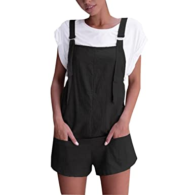 e398ced3381 Womens Fashion Elastic Waist Dungarees Linen Cotton Rompers Loose Playsuits  with Pockets Shorts Pants Lady Girl s Casual Solid Sleeveless Daily Leisure  ...