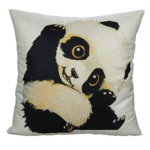 All Smiles Decorative Panda Cute Throw Pillow Case Cushion Cover Room Decor Square 18x18 Animal Pet for Kids Sofa Couch Bedroom