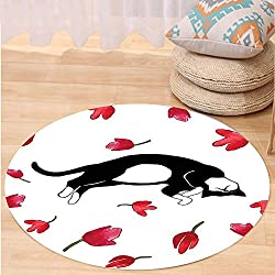 VROSELV Custom carpetModern Cute Kitty Sleeping Surrounded by Tulips Cat Animal Pet Lovely Creature Print for Bedroom Living Room Dorm Black White Red Round 24 inches