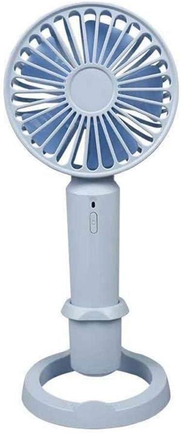 Mini Portable Cooling Fan Handheld Stand Fan USB Rechargeable Office Desktop Cooler Summer Mini Fan Two Size Optional Color : Blue, Size : Small