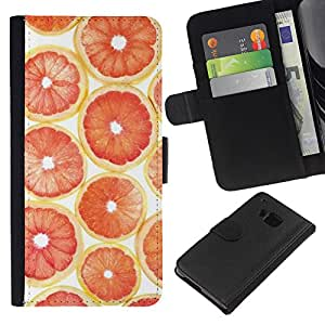 KingStore / Leather Etui en cuir / HTC One M7 / Naranja Pomelo patrón de la fruta