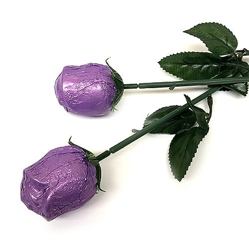Valentine Gift Purple Foiled Belgian Milk Chocolate Color Splash Long Stem Rose Bouquet - Pack of 20