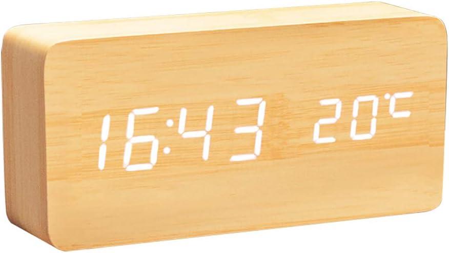 Lanker Reloj Digital De Madera - Reloj Despertador Multifunción con Visualización De La Hora/Fecha/Temperatura Y Control De Voz para Viajes A La Oficina En El Hogar - AC11Yellow_White