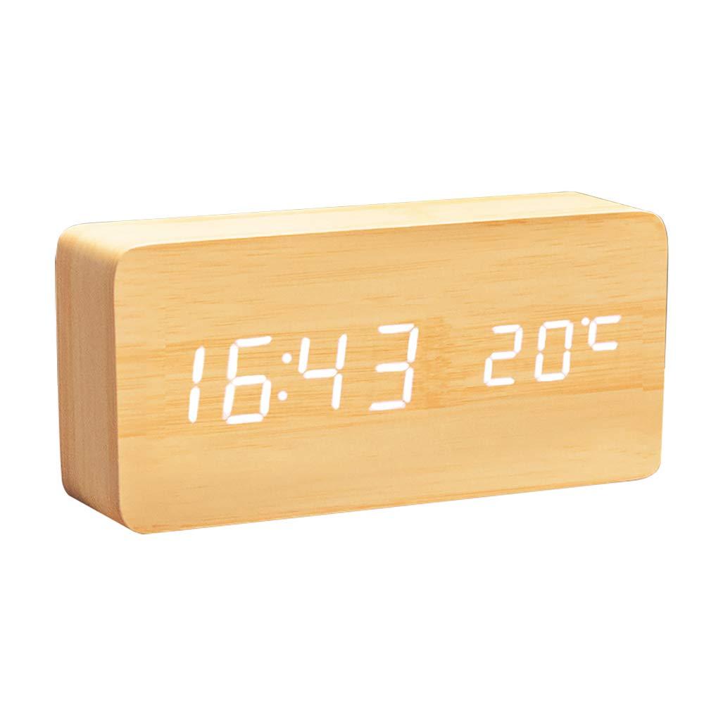 R/éveil /à LED Multifonction avec Affichage De Lheure//De La Date//De La Temp/érature Et Commande Vocale pour Le Voyage /à Domicile Lanker Horloge Num/érique en Bois AC11Black/_White