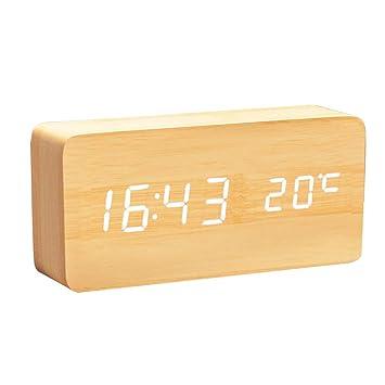 Lanker Reloj Digital De Madera - Reloj Despertador Multifunción con Visualización De La Hora/Fecha