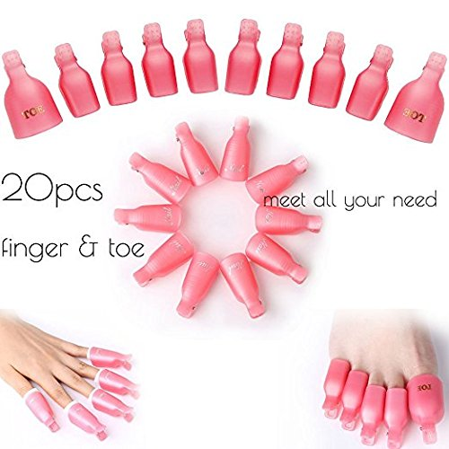 Nail Cap Clip Gel Nail Remover for Finger and Toe Kit/Set/Combination Soak Off Plastic Nail Polish Acrylic UV Nail Art Soaker Wrap Reusable 20pcs (Pink) window10