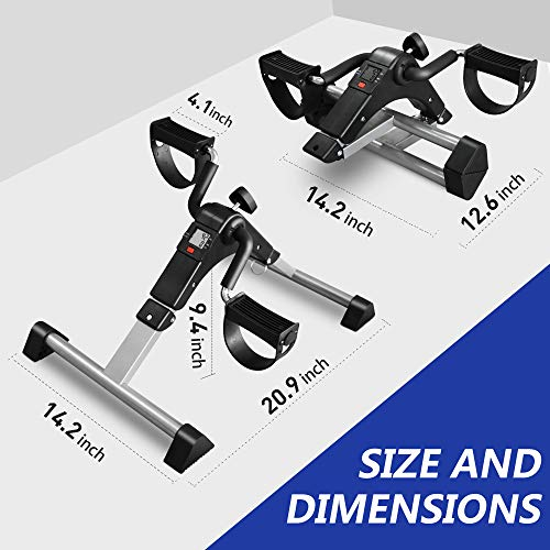 ORFORD Pedal Exerciser, Portable Exercise Bike , Folding Peddler Under Desk, Exercise Bicycles for Seniors with LCD Display for Arms, Legs, Black