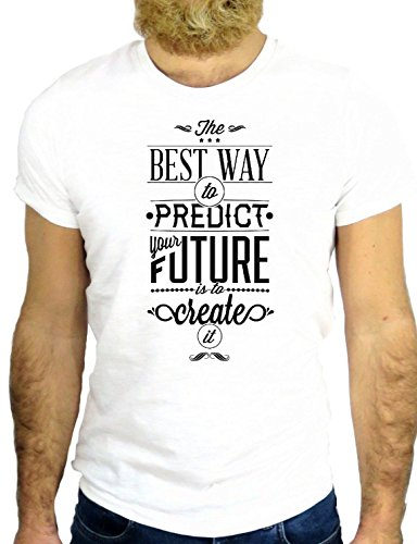 T SHIRT JODE Z2549 BEST WAY TO PREDICT THE FUTURE IS CREAT IT SLOGAN USA COOL LOGO GGG24 BIANCA - WHITE M