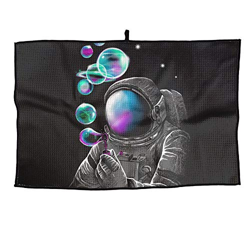 - UYILP Astronauts Blowing Bubbles Grid Microfiber Golf Towel Light Weight Quick Drying Cooling Sport Travel Towel for Sports & All Outdoor Activities Gift
