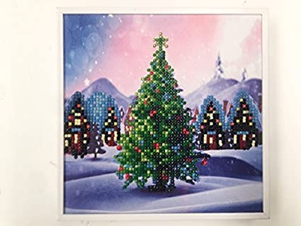 Framed Crystal Art Kit by Craft Buddy including Wall Fixings – 15 x 15cm  (CHRISTMAS TREE)