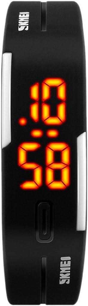 SKMEI - Reloj Digital LED Impermeable Reloj Deportivo de Deportes Banda de PU Ajustable Reloj Electrónico para Chicos Chicas Estudiantes - Negro Azul Naranja Rosa Amarillo