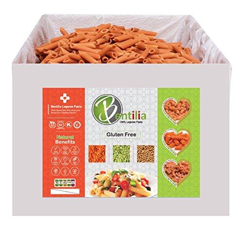 Bentilia Organic Lentil Pasta, Red Lentil Penne Organic, 10 lb, Bulk Case - 100% Natural, Low Glycemic Index, High Protein & Fiber, Non-GMO, Gluten Free Pasta