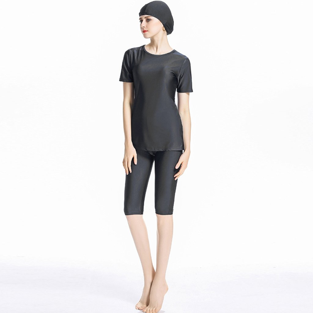 743aeb2ef0450 Ababalaya Womens  Modest Muslim Burkini Solid Swimsuit Rash Guard Surfing  Suit with Cap  Amazon.co.uk  Clothing