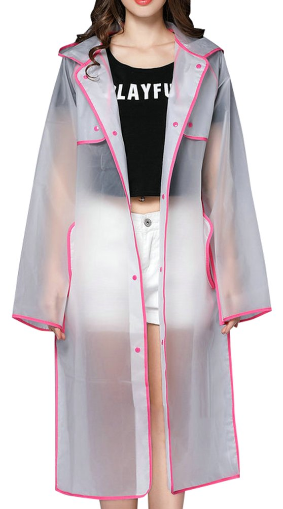 QZUnique Women's Hooded Lightweight EVA Raincoat Waterproof Frosted Transparent with GBD-YL-K36