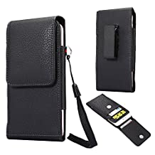 eBuymore Faux Leather Vertical Case Executive Holster Belt Clip Pouch for Samsung Galaxy S7 Edge / S6 Edge+ Plus / Galaxy J7 Prime / Galaxy On7 / On8 / Note 5 / iPhone 6S Plus / iPhone 7 Plus (Black)