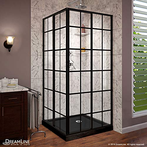 DreamLine French Corner 36 in. x 36 in. Framed Sliding Shower Enclosure in Satin Black with Corner Drain Black Acrylic Base Kit, DL-6789-09