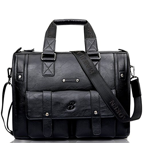 Amazon.com | gracosy Vintage Briefcase, Leather Business Bag Mens Large Working Bag Laptop Bag Teacher Bag for Travel Office Black-Medium 15.4 11.8 ...