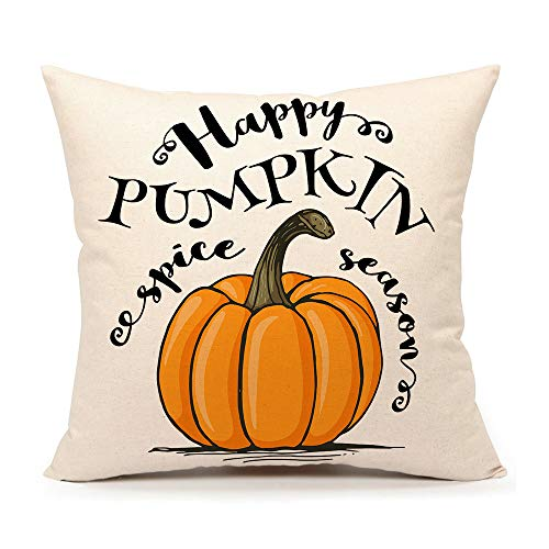 4TH Emotion Happy Pumpkin Spice Thanksgiving Throw Pillow Cover Cushion Case 18 x 18 Inch Cotton Linen Autumn Fall Halloween Home Decor -