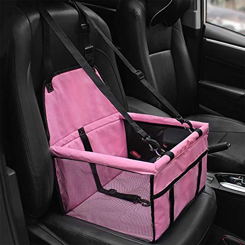 HIPPIH Collapsible Pet Booster Car Seat - 2 Support Bars, Portable Small Dog Cat Car Carrier with Safety Leash and Zipper Storage Pocket (All Pink) by HIPPIH