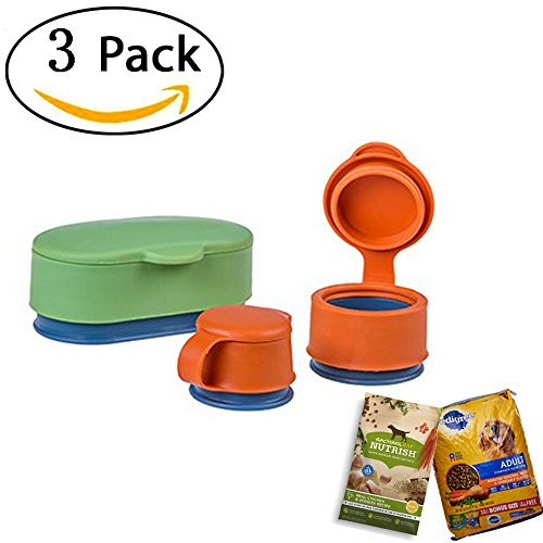 Kalolary Multifunctional Dog&Cat Food Silicone Sealing Cap, Set of 3 Sealing Cap Magic Bag Cap Keep Food, Meat, Pet food, Snack Fresh (Large Medium Small) - Bag Cap