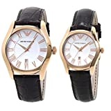 Emporio Armani Men's Women's Set Watch His & Hers Rose Gold Brown Leather AR9030M/AR9030L