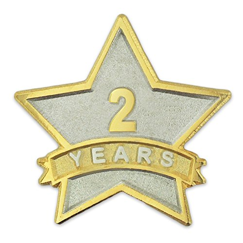 PinMart 2 Year Service Award Star Corporate Recognition Dual Plated Lapel Pin