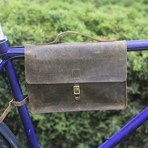 London Craftwork Marco Bolsa para Cuadro de Bicicleta Cuero Aut/éntico Marr/ón Vintage Satch-Raw