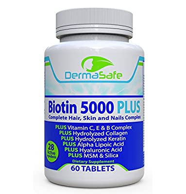 Biotin 5000 PLUS - 7X More Effective For Hair, Skin and Nails - Complete Anti Aging Formula - Collagen and Keratin Boosters - MSM, Manganese, Silica, Antioxidants - Satisfaction Guarantee