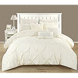 Chic Home Hannah 8 Piece Comforter Set Complete Bed In A Bag Pinch Pleated Ruffled Pintuck Bedding with Sheet Set And Decorative Pillows Shams Included, Twin Beige