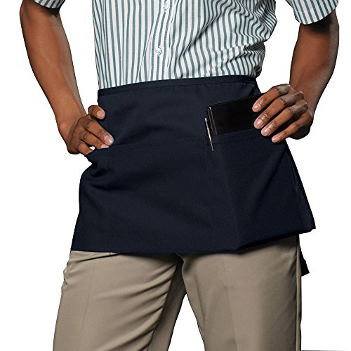 ChefsCloset 3 Pocket Server Waist Apron - 2 Pack (Navy Blue) (Blue 3 Pocket Waist Apron)