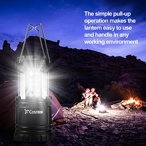 30 LED Ultra Bright Camping Lantern, Costech Portable Collapsible Lightweight Lighting Outdoor Adventure Hiking Light Lamp