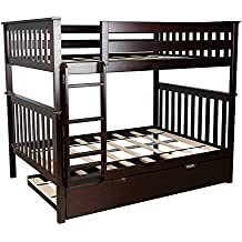 Max & Lily Solid Wood Full over Full Bunk Bed with Trundle Bed, Espresso