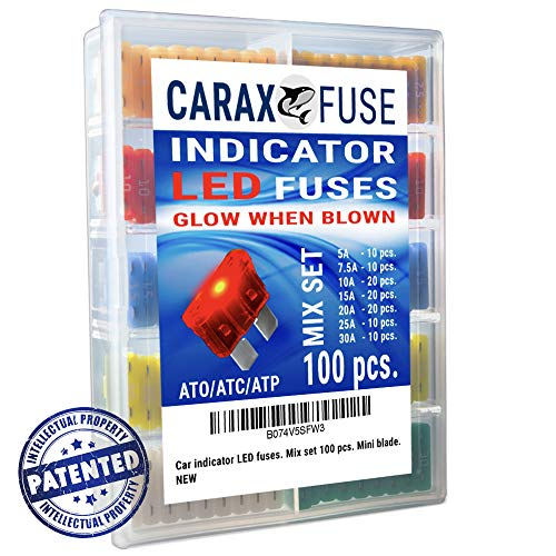 Fuse STANDARD Blade - Smart GLOW Fuse - Car Fuse Kit Automotive ATC/ATO - Fuses Assortment Replacement Kit - Easy Identification - Illuminating Indicator Fuse That Glow When Blown - Carax Fuse 100 pcs ()