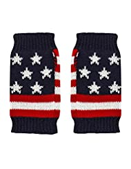 Luxury Divas American Flag Print Knit Arm Warmers With Thumb Hole