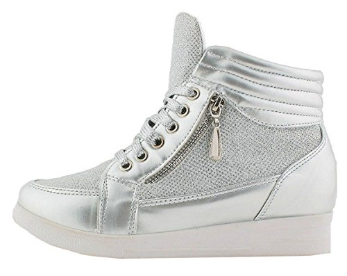 Womens N77 Silver Hidden up Shimmer Top Lace Platform Trainer Shoes Wedge Hi SHU CRAZY Ladies 5nqxwxOFT