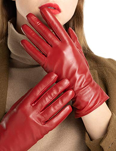 Leather Womens Red - Women's Full-Hand Touchscreen Genuine Leather Gloves Winter Warm 100% Cashmere Lined