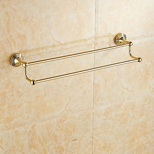 low-cost Continental copper and gold Towel rack/Towel Bar/bathroom hardware accessories/European-style double pole/gold-plated copper Towel Bar-D