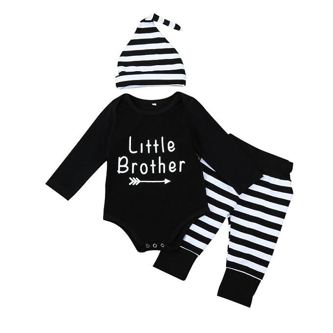 65f9fffda50bec sunnymi Bekleidung Baby Jungen Mädchen 3tlg Kleidung Outfit Brief Strampler  + Streifen Hose + Hut Set