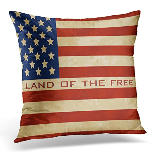 TORASS Throw Pillow Cover Quote - Vintage American Flag Decorative Pillow Case Home Decor Square 18x18 Inches Pillowcase