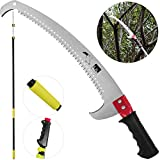 Happybuy Telescopic Pole Saw Extendable Telescopic Landscaping Pole Saw with 2Feet Saw Blade for Pruning and Trimming Branches and Leaves