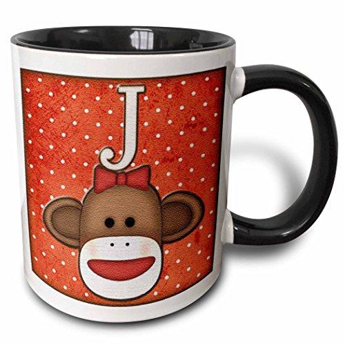 3dRose 102813_4 Cute Sock Monkey Girl Initial Letter J Two Tone Mug 11 oz Black/White