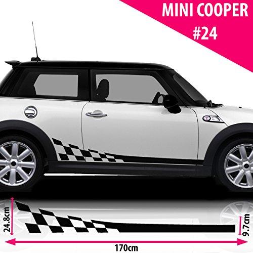 Mini Cooper S Side Racing Stripe Stickers Decal Tuning Car Black