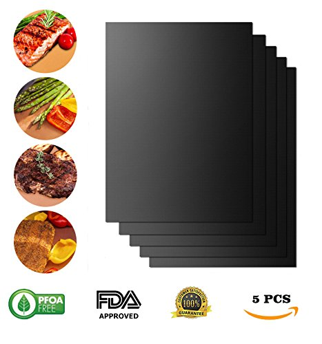 5 PCS Grill Mat 100% Nonstick BBQ Grill Baking Mats Black by KARCKEY