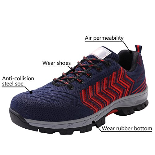 Red Dark Work Toe Shoes Men's Steel Safety Blue Shoes Optimal Shoes qxZT8v6xw