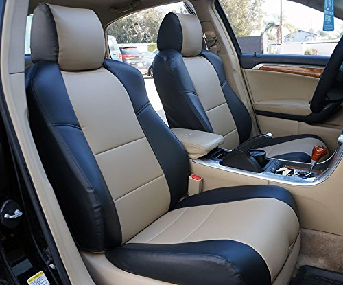 Iggee Acura TL (Not Type-S) 2004-2008 Black/Beige Artificial Leather Custom Made Original fit seat Covers ()