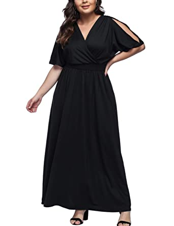 480304b460c KUREAS Women s Plus Size Mother of The Bride Skater Dress Bridal Wedding Party  Maxi Long Dress