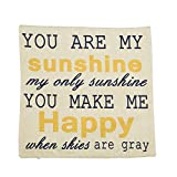 You are My Sunshine Printed Cotton Linen Decorative Pillow Cushion Cover, 17.7 x 17.7inches